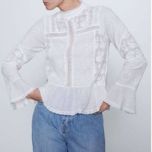 ZARA Embroidered Lace Bell Sleeve Blouse NWT